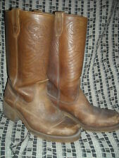 VTG 70 MENS 8 D LEATHER LIBERTY BELL 1776 TOOLED WESTERN COWBOY BOOTS