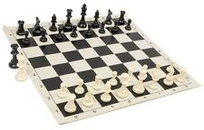 "Black & White Chess Pieces & 20"" Black Vinyl Board- Triple Weighted Chess Set"
