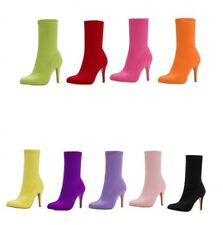 Womens Solid Sock Stretchy Pumps Pointy Toe Stiletto Heel Wedding Ankle Boots D