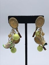 Rare Vintage Lunch at the Ritz Clip Earrings ~Tennis Anyone?~