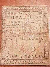 1776 CC-21 KEY USA DATE FUGIO ONE-HALF DOLLAR BEN FRANKLIN CONTINENTAL CURRENCY