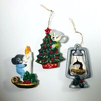 Vintage Hand Painted Mouse Christmas Ornament Lot of 3 Mice Decorations