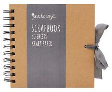 "6"" Square Kraft Paper Scrapbook Photo Album Book Spiral Bound Ribbon Tie 7560"
