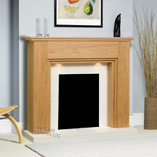 ELECTRIC OAK SURROUND WHITE FLAT WALL FIRE FIREPLACE SUITE SPOTLIGHTS LIGHTS 48""