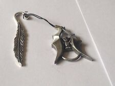 Vampire Bat code dr82  Made From English Pewter On A FEATHER Bookmark