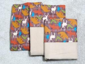 CRIB/TODDLER SHEET 3PC SET/ FLANNEL - WOODLAND ANIMAL PRINT BEAR ELK MOOSE-PLAID