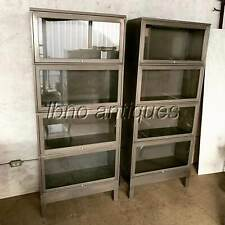 PAIR OF MCM / INDUSTRIAL METAL AND GLASS BARRISTER BOOKCASES. MUST SEE !!!