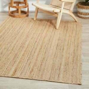 Rug Jute Carpet 100% Natural Jute Reversible Braided 3x3 Feet Style Rustic Look