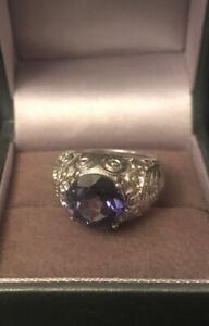 Estate Signed CID Clyde Duneier Sterling Silver & Alexandrite Ring Size 5 3/4