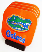 New Florida GATORS Sports COASTERS Set of 4 Boxed with wood stand