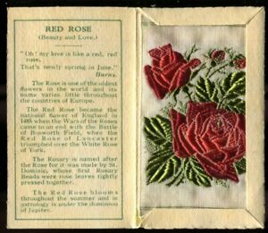 Kensitas Woven Silk Flowers, 1934, Small, 1st Series, Folder Type C,RED ROSE,#50