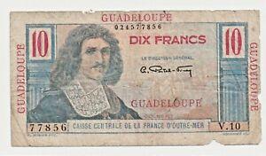 10 FRANCS Colbert GUADELOUPE 1946 Billet rare