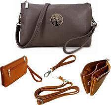 Large Grey Clutch Bag Multi Compartment Cross Body Purse Messenger Wrist Strap