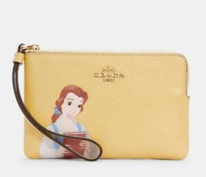 DISNEY X COACH Corner Zip Wristlet With Belle C3363 SOLD OUT NWT