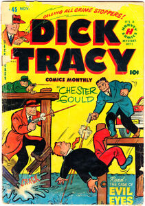 """DICK TRACY #45 PR Chester Gould """"The Case Of Evil Eyes"""" 1951 Harvey"""