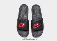 """Nike Benassi Slides """"Black-Red"""" Men's Slippers Slippers Limited Stock All Sizes"""