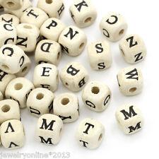 200 Naturell Buchstaben Holz Würfel Perlen Beads 10x10mm Top