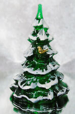 "VTG Fenton Green Glass Snow Frosted CHRISTMAS TREE 6.5"" Gold Cardinal Bird Tags"