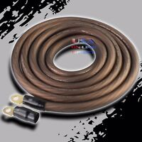 4 Gauge BLACK Power Ground OFC Wire Copper Marine Grade Cable 4 AWG Terminals US