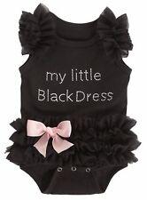 Ruffled Tutu Little Black Dress Snap Bodysuit 0-6 Month Crib Shirt Baby Clothes