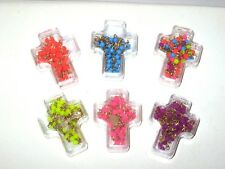 """Lot of 6 Religious Rosaries Necklaces w/Case 6 Vibrant Colors 16"""" Dainty Beads"""