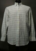 Canali Linen Cotton Sport Shirt Medium Green Beige Plaid. Long Sleeve