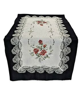 Doily Boutique Table Runner or Doily with Mauve Pink Roses and Fabric with Lace