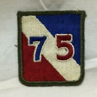 Vintage Military Army 75th Infantry Division Patch Badge White Back Variant 75