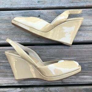 Womens MICHAEL KORS Nude Patent Leather Wedge Slingback Sandals Size 40