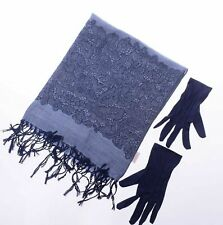 DAMART Jacquard Scarf & Gloves Blue One Size JS192 GG 06