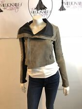 VEDA 101017 BROWN SPECKLED LEATHER BLEND LEATHER PANEL SLEEVES & TRIM SZ XS/S