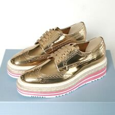 PRADA espadrille oxford shoes gold brogue pink platform wingtip sneaker 35 NEW
