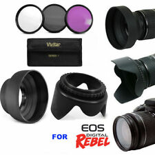 LENS HOOD & 3HD FILTERS UV-CPL-FLD  KIT FOR CANON EOS REBEL T6i T6 T5i T5 SL1T3I