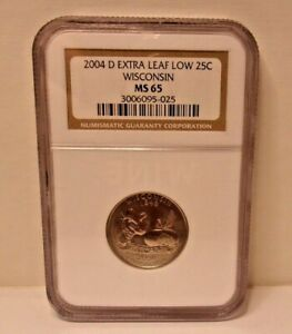 Error 2004 D Extra Leaf LOW 25C Wisconsin NGC MS 65 Quarter