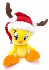 "Hallmark Tweety Bird Plush Stuffed Animal 11"" Santa Hat Antlers Bell Christmas"