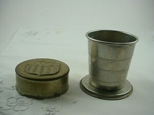 VINTAGE CAMPING POCKET SIZE COLLAPSIBLE FOLDING ALUMINUM CUP