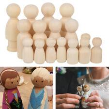 16pcs Peg Doll Wooden Little People Kids Wood Dolls DIY Paint Male Gift Female