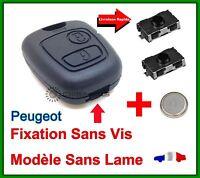 Coque Clé  Pour Peugeot Plip 2 Boutons 406 Coupé SW Partner + Pile 2 Switch