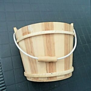 WOODEN BUCKET  ARTS AND CRAFTS UNVARNISHED  15 cms tall