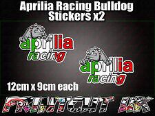 Aprilia Racing Bulldog Stickers x2 Italian tri car van bike RS SR Tuono Falco