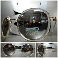 Men or Women VINTAGE RETRO Style SUNGLASSES Transparent & Gold Frame Mirror Lens