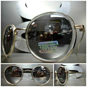 Men or Women VINTAGE RETRO Style SUNGLASSES Transparent & Gold Frame Mirror Lens