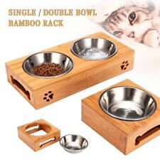 Dog Bowls Double Single Pet Puppy Stainless Steel Bamboo Rack Food Water Dishes