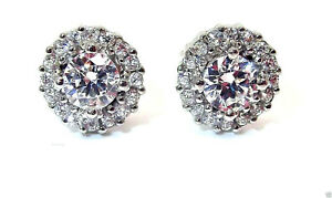 9CT HALLMARKED WHITE GOLD ROUND BRILLIANT CUT HALO 7MM STUD EARRINGS