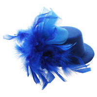 mini organza primavera sombrero con clip de pelo Azul M8R1