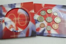 2001 ROYAL MINT BRILLIANT UNCIRCULATED 9 COIN SET B33 #2000