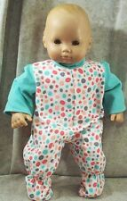"""Doll Clothes Baby Made 2 Fit American Girl 15"""" inch Bitty Pajamas Dots Turquoise"""