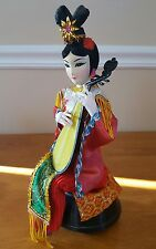 vintage Oriental Asian music box woman fabric detailed rare gorgeous