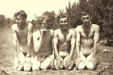 Vintage FOUR NUDE MEN Fun in Sun Gay Interest 1930's Photo 4x6 Sepia Reprint