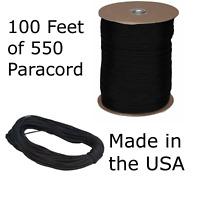 100 Feet of 550 Paracord Type III Nylon Parachute Cord Utility Cord Black